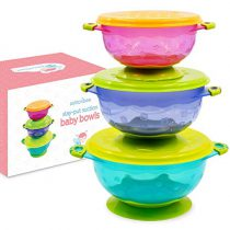 Suction Bowl for Toddlers, Set of 3 Stackable Feeding Bowls with Spill-Proof Lids
