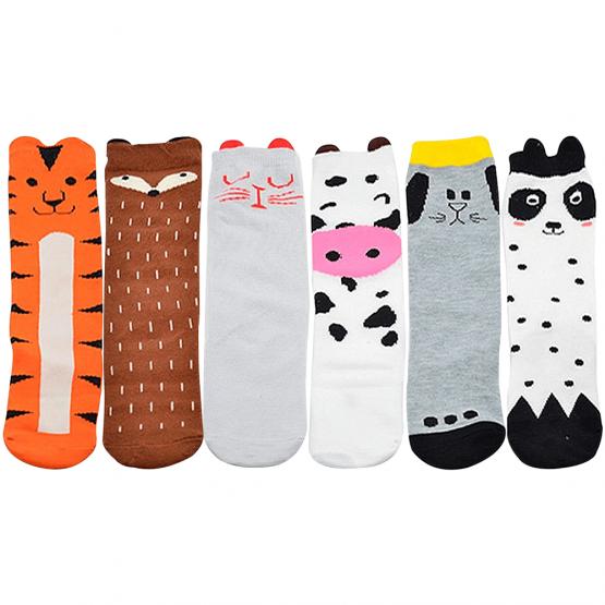 Baby Knee High Cartoon Socks 6 Pairs with Animal Design