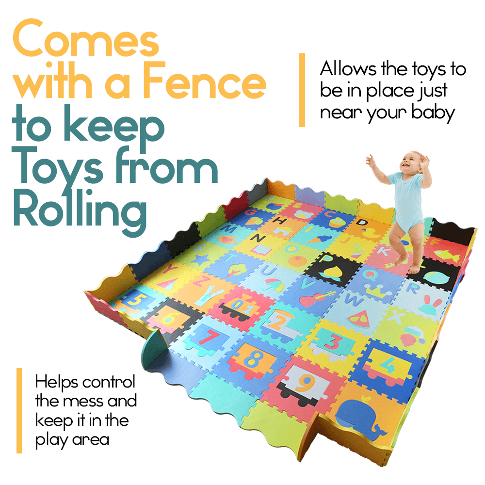 Baby Foam Play Mat With Fence 36 Foam Tiles Ashtonbee