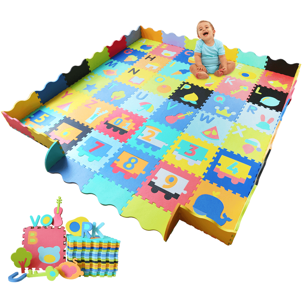 Baby Foam Play Mat with Fence (36 Foam Tiles) - Ashtonbee