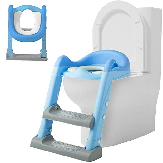 Potty Training Seat with Adjustable Ladder, Blue